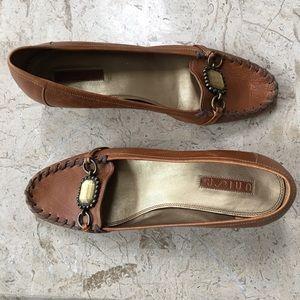 Brown Leather Kitten Heel Slip On Pump bu Unisa